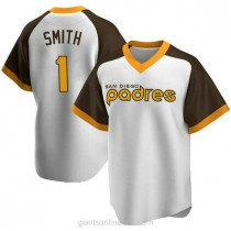Youth Ozzie Smith San Diego Padres #1 Authentic White Home Cooperstown Collection A592 Jerseys