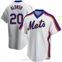 Youth Pete Alonso New York Mets #20 Authentic White Home Cooperstown Collection A592 Jerseys
