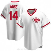 Youth Pete Rose Cincinnati Reds #14 Authentic White Home Cooperstown Collection A592 Jersey