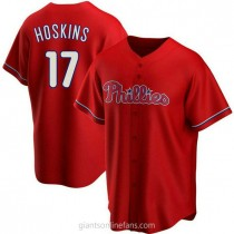 Youth Rhys Hoskins Philadelphia Phillies #17 Authentic Red Alternate A592 Jersey