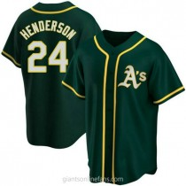 Youth Rickey Henderson Oakland Athletics #24 Authentic Green Alternate A592 Jersey