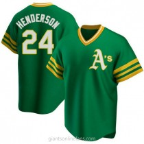 Youth Rickey Henderson Oakland Athletics #24 Authentic Green R Kelly Road Cooperstown Collection A592 Jersey