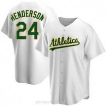 Youth Rickey Henderson Oakland Athletics #24 Authentic White Home A592 Jerseys