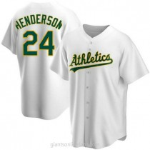Youth Rickey Henderson Oakland Athletics #24 Replica White Home A592 Jersey