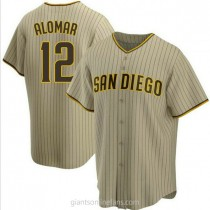 Youth Roberto Alomar San Diego Padres #12 Authentic Brown Sand Alternate A592 Jersey