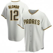 Youth Roberto Alomar San Diego Padres #12 Replica White Brown Home A592 Jersey