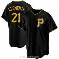 Youth Roberto Clemente Pittsburgh Pirates Replica Black Alternate A592 Jersey