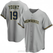 Youth Robin Yount Milwaukee Brewers #19 Authentic Gray Road A592 Jerseys