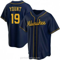 Youth Robin Yount Milwaukee Brewers #19 Authentic Navy Alternate A592 Jersey