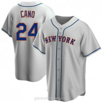 Youth Robinson Cano New York Mets #24 Authentic Gray Road A592 Jersey