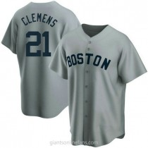 Youth Roger Clemens Boston Red Sox #21 Authentic Gray Road Cooperstown Collection A592 Jerseys