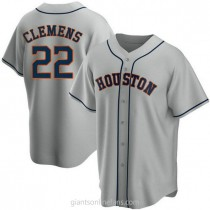 Youth Roger Clemens Houston Astros #22 Replica Gray Road A592 Jerseys