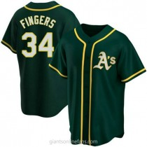Youth Rollie Fingers Oakland Athletics #34 Authentic Green Alternate A592 Jerseys