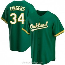Youth Rollie Fingers Oakland Athletics #34 Authentic Green Kelly Alternate A592 Jersey