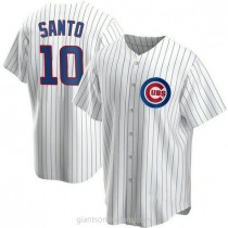 Youth Ron Santo Chicago Cubs #10 Authentic White Home A592 Jersey