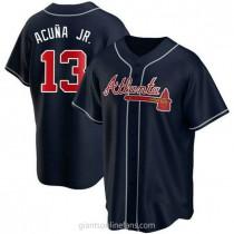 Youth Ronald Acuna Atlanta Braves #13 Authentic Navy Alternate A592 Jerseys