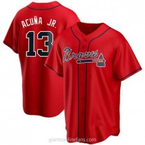 Youth Ronald Acuna Atlanta Braves #13 Authentic Red Alternate A592 Jersey