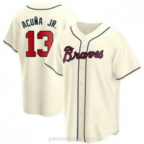 Youth Ronald Acuna Atlanta Braves #13 Replica Cream Alternate A592 Jersey
