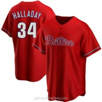 Youth Roy Halladay Philadelphia Phillies #34 Authentic Red Alternate A592 Jersey
