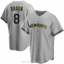 Youth Ryan Braun Milwaukee Brewers #8 Authentic Gray Road A592 Jersey