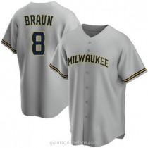 Youth Ryan Braun Milwaukee Brewers #8 Replica Gray Road A592 Jersey