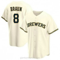 Youth Ryan Braun Milwaukee Brewers Authentic Cream Home A592 Jersey