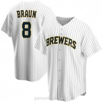 Youth Ryan Braun Milwaukee Brewers Authentic White Home A592 Jersey