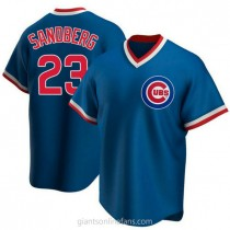 Youth Ryne Sandberg Chicago Cubs Authentic Royal Road Cooperstown Collection A592 Jersey