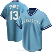 Youth Salvador Perez Kansas City Royals #13 Authentic Light Blue Road Cooperstown Collection A592 Jersey