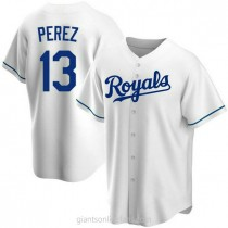 Youth Salvador Perez Kansas City Royals #13 Authentic White Home A592 Jersey