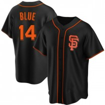 Youth San Francisco Giants #14 Vida Blue Replica Blue Black Alternate Jersey