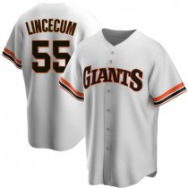 Youth San Francisco Giants #55 Tim Lincecum Authentic White Home Cooperstown Collection Jersey
