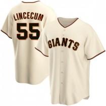 Youth San Francisco Giants #55 Tim Lincecum Replica Cream Home Jersey