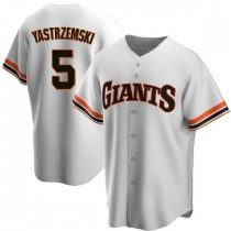 Youth San Francisco Giants #5 Mike Yastrzemski Authentic White Home Cooperstown Collection Jersey