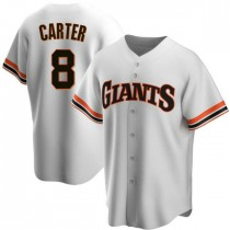 Youth San Francisco Giants #8 Gary Carter Replica White Home Cooperstown Collection Jersey