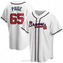 Youth Satchel Paige Atlanta Braves #65 Authentic White Home A592 Jersey