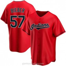 Youth Shane Bieber Cleveland Indians #57 Authentic Red Alternate A592 Jerseys