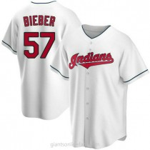 Youth Shane Bieber Cleveland Indians #57 Replica White Home A592 Jersey