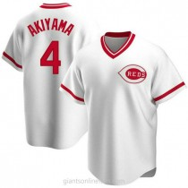 Youth Shogo Akiyama Cincinnati Reds #4 Authentic White Home Cooperstown Collection A592 Jersey