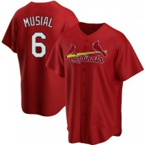 Youth Stan Musial St Louis Cardinals #6 Red Alternate A592 Jersey Authentic