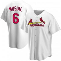 Youth Stan Musial St Louis Cardinals #6 White Home A592 Jersey Replica