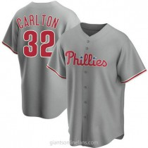 Youth Steve Carlton Philadelphia Phillies #32 Authentic Gray Road A592 Jersey