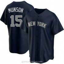 Youth Thurman Munson New York Yankees #15 Authentic Navy Alternate A592 Jersey