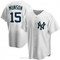 Youth Thurman Munson New York Yankees #15 Replica White Home A592 Jersey