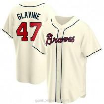 Youth Tom Glavine Atlanta Braves #47 Replica Cream Alternate A592 Jersey