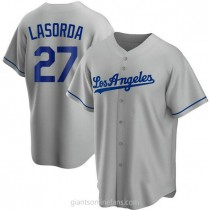Youth Tommy Lasorda Los Angeles Dodgers #27 Replica Gray Road A592 Jersey