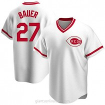 Youth Trevor Bauer Cincinnati Reds #27 Authentic White Home Cooperstown Collection A592 Jerseys
