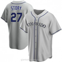 Youth Trevor Story Colorado Rockies #27 Authentic Gray Road A592 Jersey