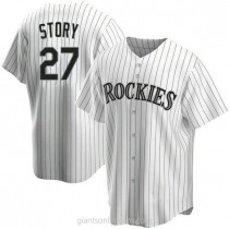 Youth Trevor Story Colorado Rockies #27 Authentic White Home A592 Jerseys