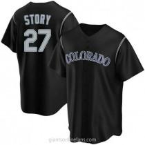 Youth Trevor Story Colorado Rockies #27 Replica Black Alternate A592 Jerseys